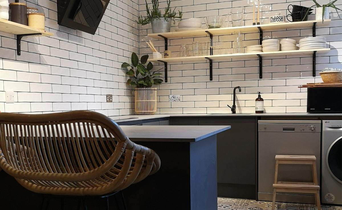 Evolve Portland in a Soft Industrial Kitchen