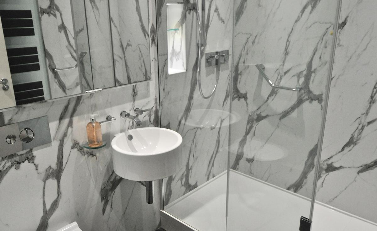 Greygreen Transform a Shower Room with Nuance Calacatta Statuario