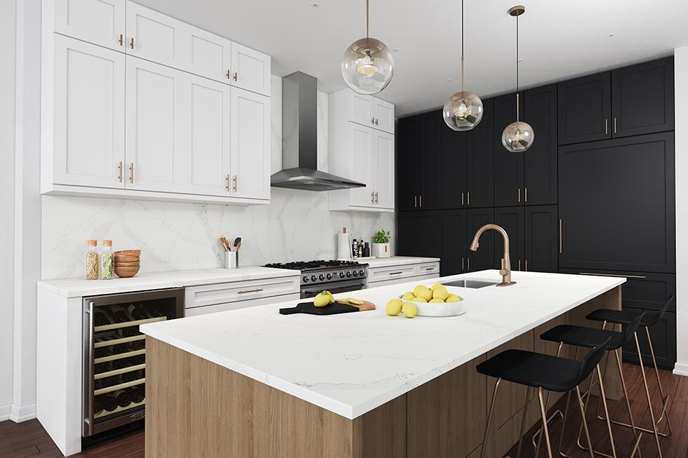 Calacatta Kitchen with Quartz Countertop and Backsplash and Laminate Cabinet Fronts