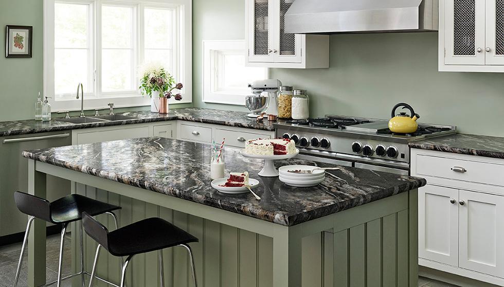 Green Farmhouse Kitchen with Laminate Countertop