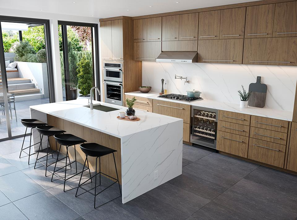 Light Modern Kitchen with Solid Surface Waterfall countertop | Monte  Amiata
