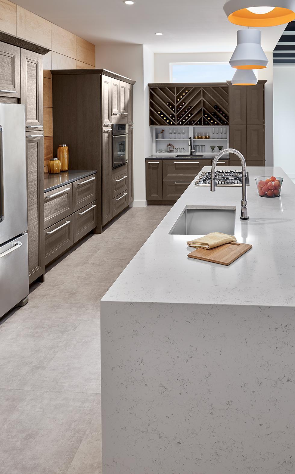Contemporary Loft Kitchen with Quartz Countertop