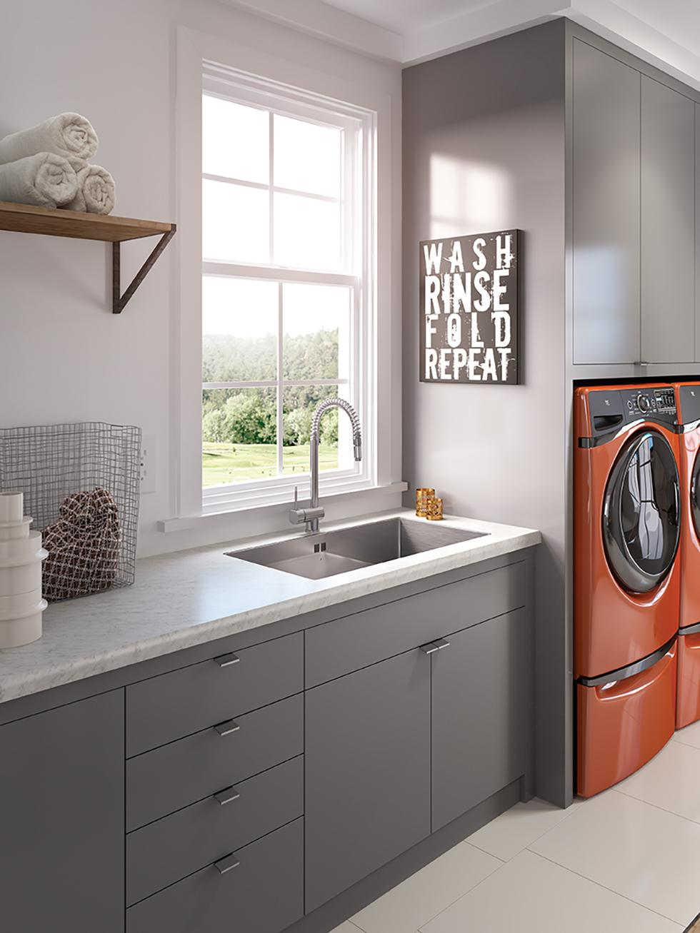 Modern Laundry with Laminate Countertop