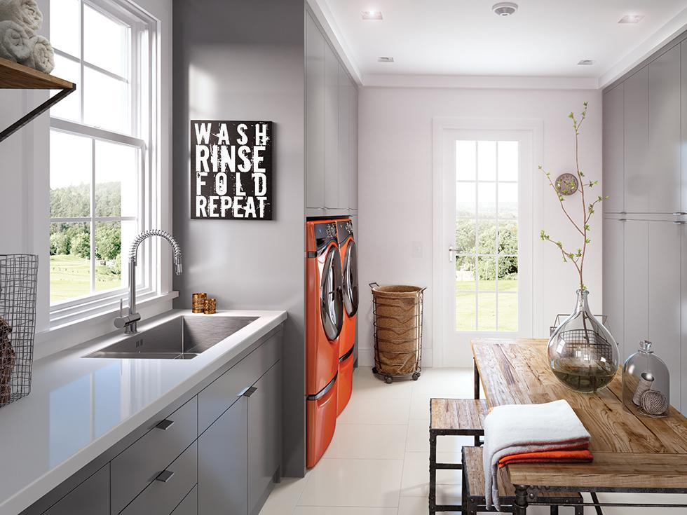 Modern Laundry Room with Laminate Countertop and Cabinet Fronts