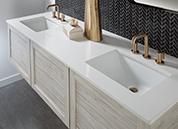 Warm Neutrals Vanity with Quartz Vanity Top and Laminate Cabinet Doors