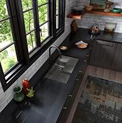 Contrast and Texture Kitchen with Quartz Countertop