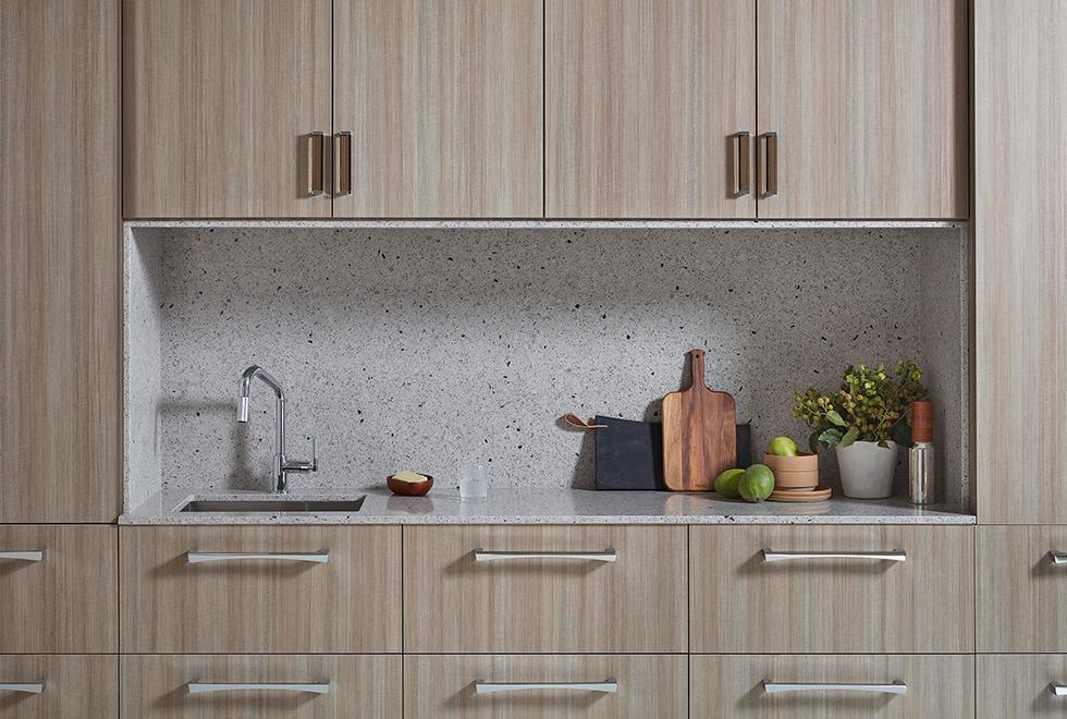 Kitchen Niche with Quartz Countertop and Backsplash and Laminate Cabinet Fronts