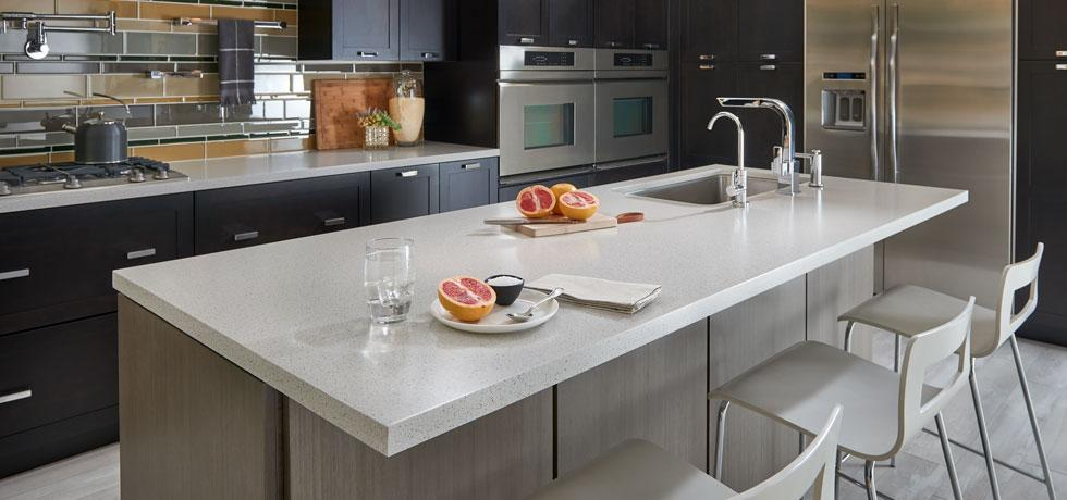 Dusk Ice   Solid Surface Kitchen   the look of quartz with a touch of sparkle from mirror chips
