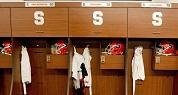 Burnished Cherry - Syracuse University Athletic Locker Room close up