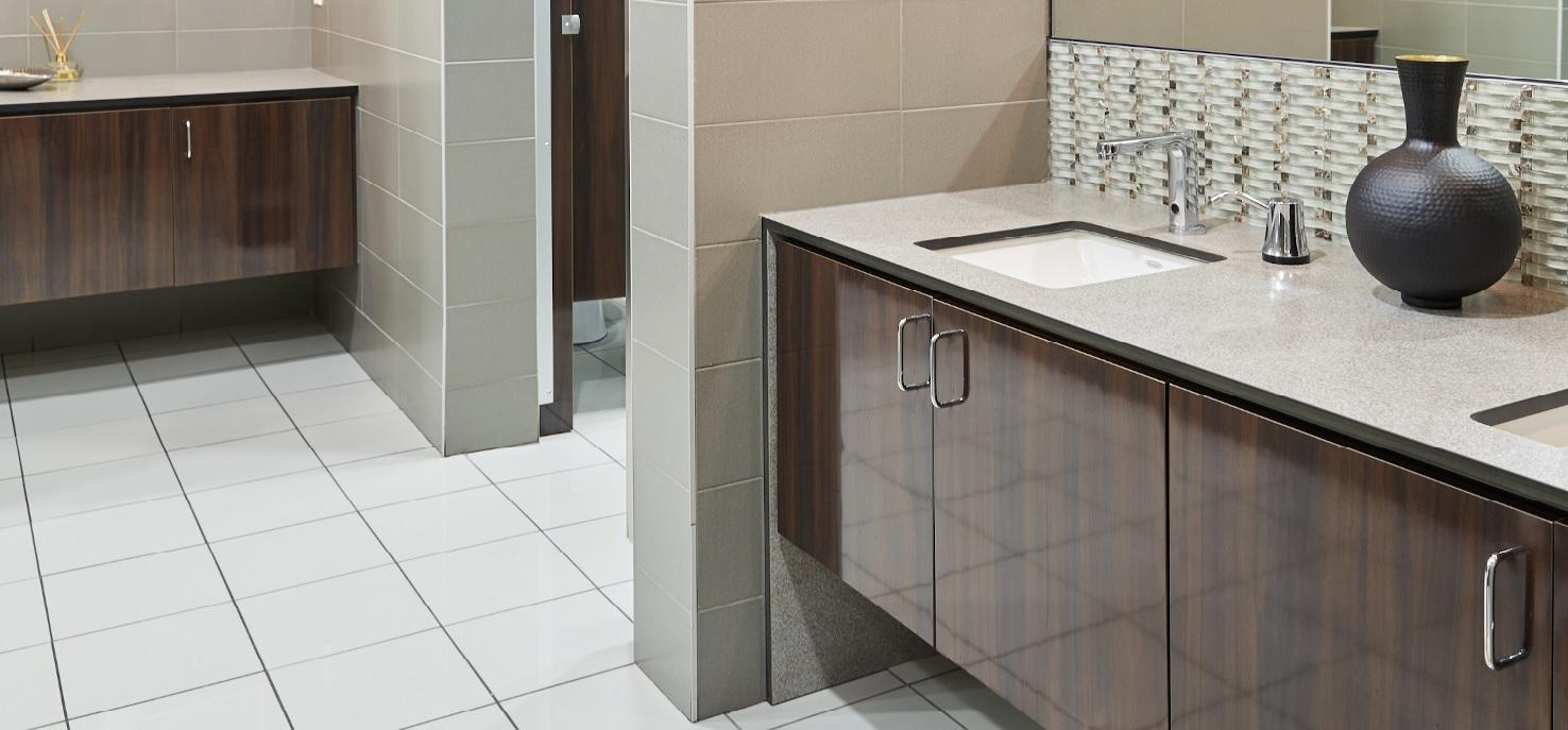 Afromosia Cameroon - Commercial bathroom cabinet