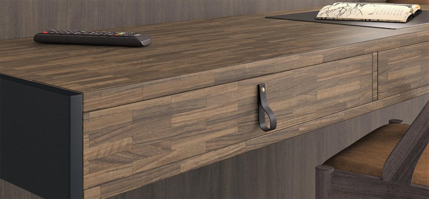 Copper Marquetry Desk close up