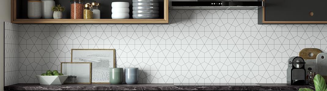 A modern kitchen with Bushboard Alloy geometric splashback on the wall.