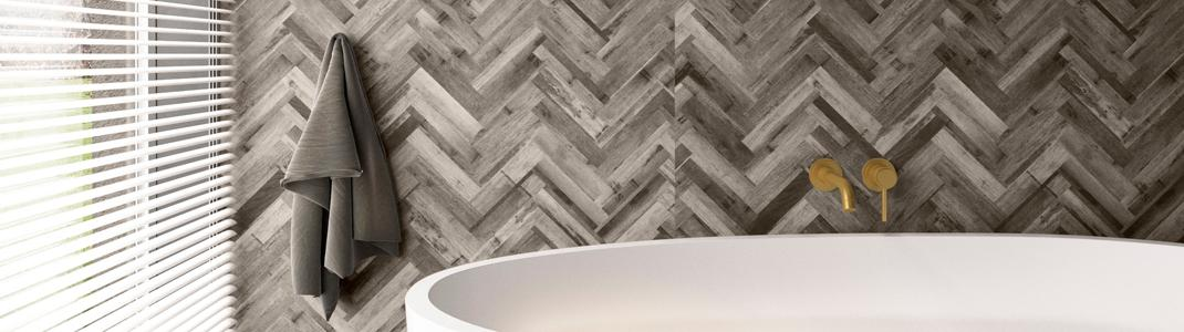 Nuance bathroom panels in Herringbone.