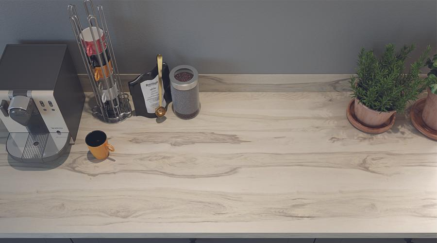 Omega worktop in Unburnished Grain from above