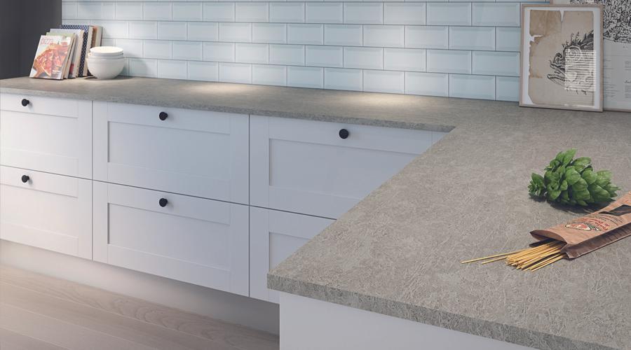 Omega worktop in Grey Chalk with Vista splashback